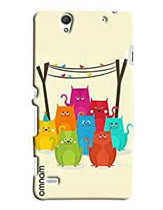 Omnam Coloful Cats Effect Printed Designer Back Cover Case For Sony Xperia C4
