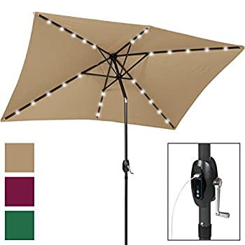 Best Choice Products 10x6.5ft Rectangular Solar LED Patio Umbrella w/USB Charger, Portable Power Bank, Tilt - Tan