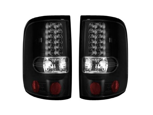 2004-2008 Ford F-150 Rear Led Tail Lights Dark Smoked Lens Finish Without Bulbs; Recon 264178Bk