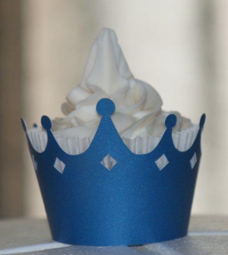 All About detalles Shimmer azul corona para cupcakes, juego de 12