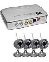 Kit videosorveglianza wireless ricevitore con 4 telecamere/camere ad infrarossi e telecomando