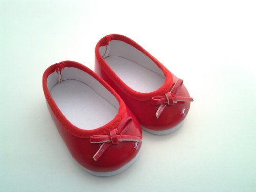 RED BOW FLATS-DOLL SHOES FOR AMERICAN GIRL DOLLS - 1