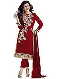 Tiludi Fashion New Arrival Party Wear Maroon Cotton Embroidered Salwar Suit (TFM005_Maroon_Free Size)