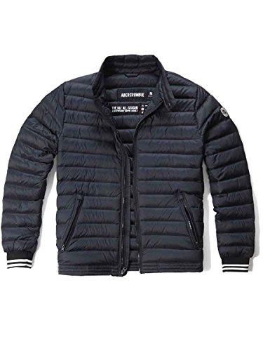 (アバクロンビー&フィッチ) Abercrombie & Fitch アバクロ メンズ アウター ライトウェイト ダウン ジャケット コート [ネイビー/腕ワッペン/Trim] 並行輸入品 XLサイズ