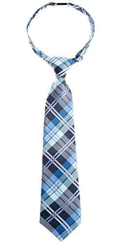 Retreez Elegant Tartan Check Woven Microfiber Pre-tied Boy's Tie - Dark Grey and Blue - 24 months - 4 years
