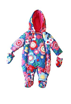 Toby Tiger Unisex Baby Multi Flower Snowsuit All-In-One Blue/ Pink 0 - 3 Months