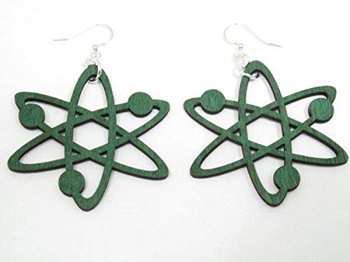 Kelly Green Nuclear Energy Power Wooden Earrings