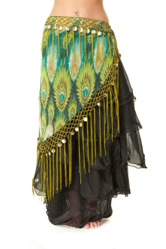 Tribal Fringe Fusion Belly Dance Hip Scarf - V Shaped