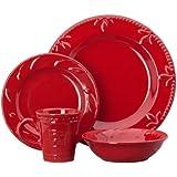 Signature Housewares Sorrento Collection Stoneware 4-Piece Dinnerware Set, Ruby Antiqued Finish