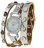 Geneva Designer Inspired Leather Wrap Watch Silver