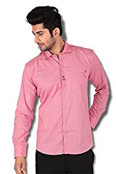 Kivon Men's Pink Slim Fit Plain Casual Shirt