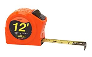 Lufkin HV1312 3/4-Inch x 12 Hi-Viz1/2 Orange Power Return Tape Measure