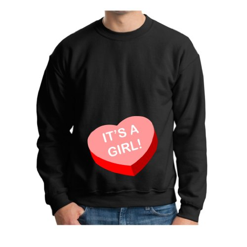 It'S A Girl Short Sleeve Maternity Themed Premium Crewneck Sweatshirt Small Black front-933512