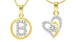 N Alphabet In Heart Jewels B Alphabet & Heart Shaped Gold Plated Alloy and Brass Pendant ...