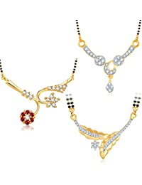 Meenaz Mangalsutra Jewellery Set Combo Gold Plated For Women Com256
