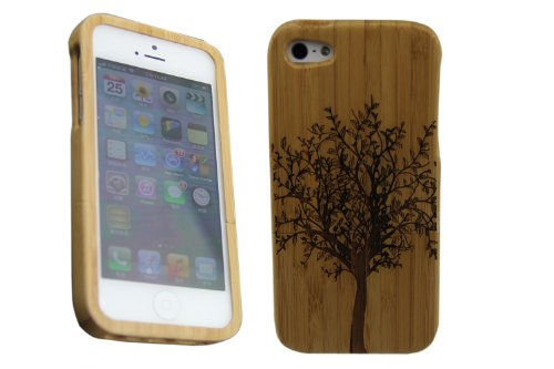 Natural Bamboo Wood Wooden Protective Case scenery tree for Apple iPhone 5