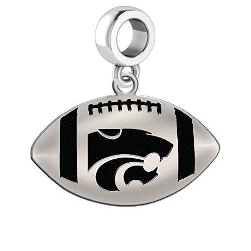 Kansas State University Wildcats Sterling Silver Football Cut Out Drop Charm Fits All European Style Charm Bracelets