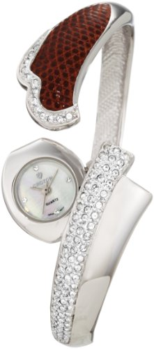 Croton Women's CN207219RHBR Ballroom Crystal Accented White Mother-Of-Pearl Dial Silver Tone Brass Watch