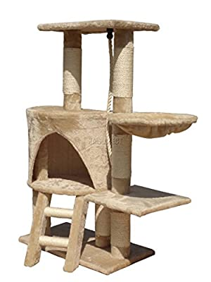 FoxHunter Deluxe Multi Level Cat Scratcher Cat Tree Activity Centre Scratching Post Activity Toys M004 Beige Faux Fur 30cm x 55cm x 96cm Height