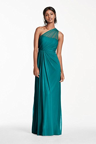 0cec7ad112 Long Mesh Bridesmaid Dress with One Shoulder Neckline Style F15928 ...
