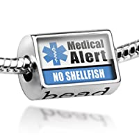 "Neonblond Beads Medical Alert Blue ""No Shellfish"" - Fits Pandora Charm Bracelet from NEONBLOND Jewelry & Accessories"
