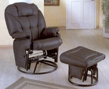Black Leatherette Glider Rocker Recliner Chair with Ottoman