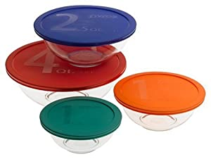 Pyrex #1086053 Smart Essentials 8-Piece Mixing Bowl Set W/Colored Lids
