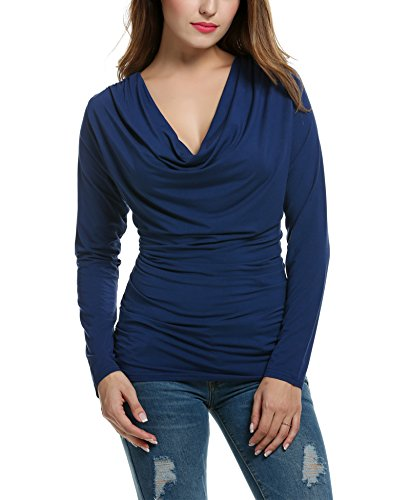 Zeagoo Women's Ruched Cowl Neck Shirt Long Sleeve Work Blouse,Navy Blue 1,XL (Cowl Shirt compare prices)