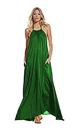 Maxi Halter Tie Flowy Dress, Size Large at Amazon Women's Clothing