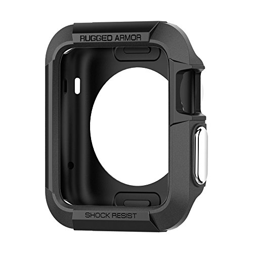 Spigen SGP11496 Rugged Armor Case with with Resilient Shock Absorption and 2 Screen Protectors for Apple Watch (42mm) - Black
