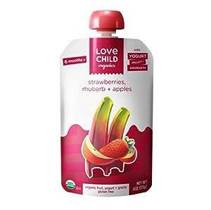 Love Child Organics Power Yo'rridge Purees - Strawberries, Rhubarb & Apples - 4 oz - 6 pk