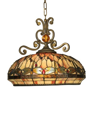 B004DI5U0A Dale Tiffany TH10097 Dragonfly Pendant Light , Antique Golden Sand and Art Glass Shade