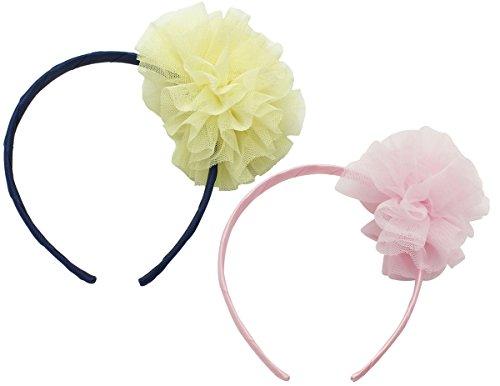 Victoria Cat Girls 2Pcs Pink& Yellow Wedding Mesh Ball- Flower Hair/ Headband Set