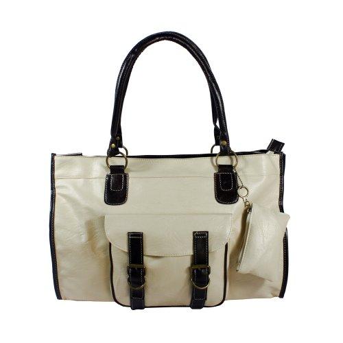 [Doris Favorite] Offwhite Double Handle Front Pocket Leatherette Satchel Bag Handbag Purse front-917017
