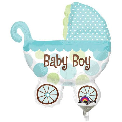 Baby Buggy Boy Mini Shape Foil Balloon (1 Per Package) front-1031846