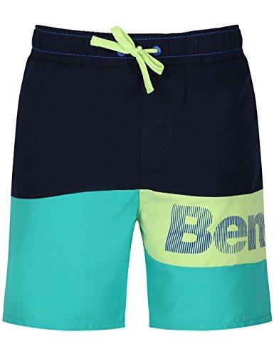 Bench Badeshorts in Colourblock-Optik; mit elastischem Bund und Kordelzug; Innenslip aus Mesh; großer Markenprint am Bein; Seitenlänge: ca. 37 cm/Gr. 128; Material 100% Polyester.