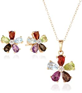 Yellow Gold Plated Sterling Silver Multi-Gemstone Flower Earrings and Pendant Necklace Set, 18