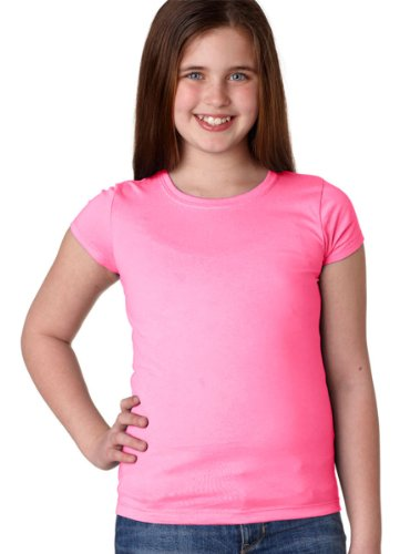 Next Level Stylish Soft Crewneck T-Shirt, Neon Heather Pink, Medium