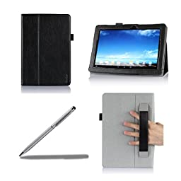 ProCase ASUS MeMO Pad 10 Protective Case with bonus stylus pen - Flip Stand Leather Cover Case for ASUS MeMO Pad 10 Tablet (ME102A), Built-in Stand (Black)