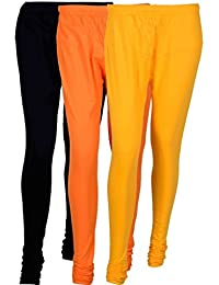 Fashion And Freedom Women's Cotton Leggings Pack Of 3_FFCL_BOY_BLACK-ORANGE-YELLOW_FREESIZE