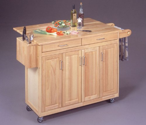 Cheap Natural Wood Kitchen Cart with Breakfast Bar (5023-95)