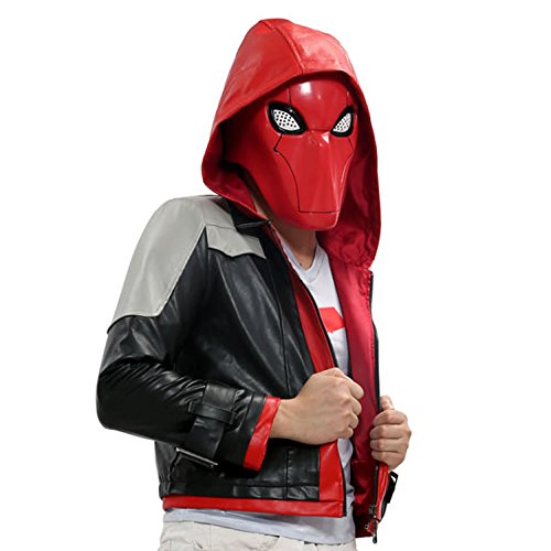 Red Hood Costume Bat-man Cosplay PU Jacket Suit Adult Custom Made