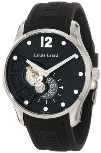 Louis Erard Men's 30208AA02.BDE10 1931 Automatic Luminous Black Dial Black Rubber Watch