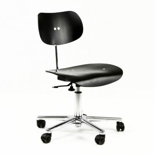 S 197 GH Drehstuhl schwarz. aluminium/Buche gebeizt