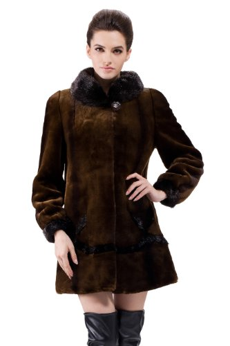 Messca Womens Anastasia Faux Rabbit Fur with Black Mink Fur Middle Fur Coat (M, Brown)