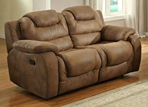 Glider Recliner Love Seat in Brown Bomber Jacket Microfiber By Homelegance
