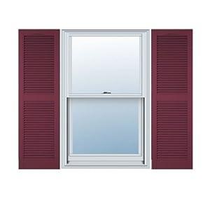 14 Inch X 51 Inch Standard Louver Exterior Vinyl Shutter Burgundy Pair Window