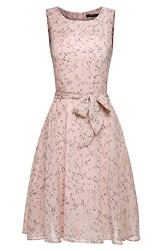 Zeagoo Women Chiffon Summer Floral Flare Pleated Party Cocktail Dress With Belt