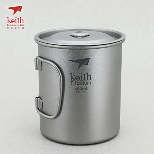 Keith Titanium Single-Wall Mug with Folding Handle and Lid - 15.2 fl oz (Titanium Single Wall Cup compare prices)