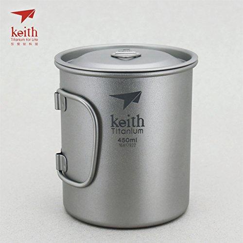Keith Titanium Single-Wall Mug with Folding Handle and Lid - 15.2 fl oz